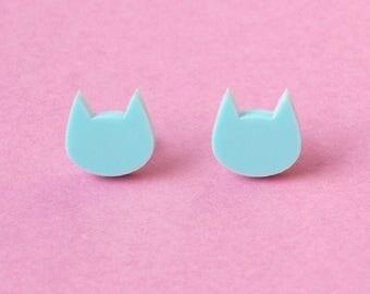 Cat Stud Earrings in Pastel Mint Acrylic