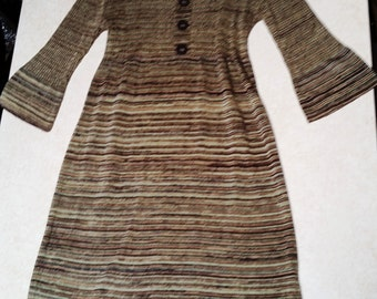 Brown Multi Knit Fitted Dress with Bellbottom Sleeves - Small