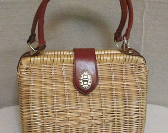 Vintage 1960's Plastic Coated Rattan Wicker & Leather Handbag
