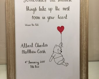 Personalised new baby quoted print