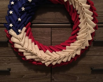 Red White and Blue Patriotic American Flag Rustic Burlap Wreath - Fourth of July - Memorial Day - Military American Wreath -