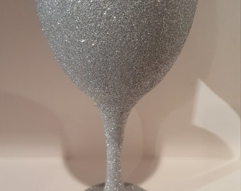 Full Glitter White Wine Glass