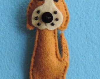 Handmade Felt Dog Brooch, Cute button nose, Gift
