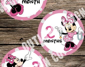 Baby Girl Monthly Milestone Markers Printable Instant Download Minnie Mouse Disney Pink Polka Dots Nursery Age Sticker