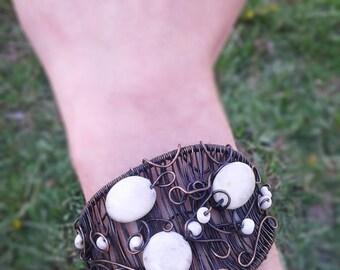 Copper wire bracelet tribal bracelet cuff bracelet steampunk bracelet white stone bracelet unique bracelet handmade bracelet modern bracelet