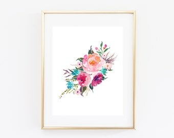 "Printable wall art, floral wall art, 8x10"", Nature art print, floral watercolor print, printable floral art, home decor, nursery decor"