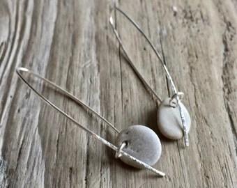 white beach stone dangle earrings