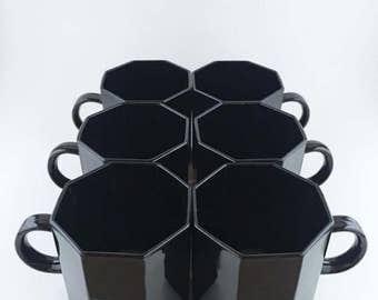 Vintage Arcoroc France Black Octagon Tea Cups Set Of Six