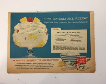 Vintage 1950s food ad from magazine blue art rice pudding recipe retro art wall decor gallery wall food art pop art