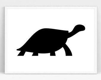 Printable Art, Turtle Silhouette, Gallery Wall Prints, Nursery Wall Art, Animal Printables, Turtle Prints, Nusery Decor, Black and White