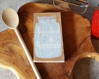 Happiness is homemade mini sign, mini wood block, desk decoration, shelf decoration, mantel decoration