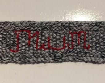 Hand Knitted and hand embroidered 'Mum' - Mug Hug