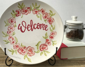 Warm Greetings. Hand-Painted Ceramic Decorative Plate.