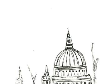 London St Pauls Cathedral Illustration Print