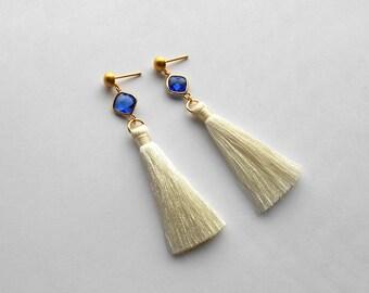 White Tassel earrings, Statement earrings, Tassel trend