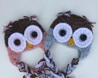 Crochet Owl Earflap Hat, Newborn Baby Owl Hat, Newborn Photo Prop, Youth Earflap Owl Hat,Baby Shower Gift,Infant Hospital Hat,Owl Beanie Hat