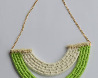 Green and White Rope Necklace