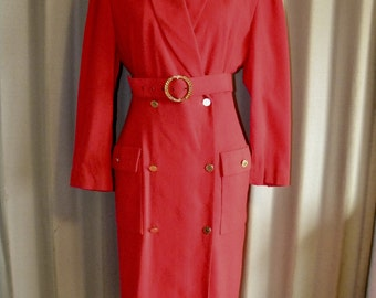 Vintage Belted Red Power Suit