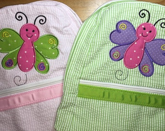 Backpack Butterfly Appliqued.  Back to school, diaper bag, back to school, kindergarten