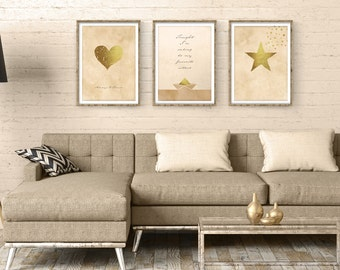 Set of 3 Prints, Printable Wall Art, Printables, Printable Art, Brown And Gold Wall Art, Gift For Her, Instant Download, Star, Heart Boat