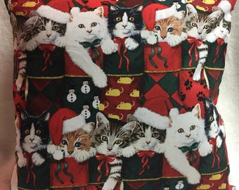 Kitties Christmas, Pillow 14 x 14 (#020)