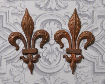 Vintage French Fleur de Lis Brass Stamping Front and Flat Back 2 Pieces 400 - 401J