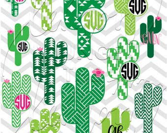 Cactus Monogram svg, 13 + 2 monogram svg, western svg, Aztec svg, cactus svg, monogram cut file, digital cut file, commercial use OK