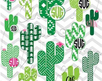 Cactus Monogram svg, 13 + 2 monogram svg, western svg, Aztec svg, cactus svg, monogram cut file, digital cut file, commercial use OK