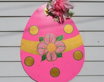 Sale! Ready to ship Pink and Gold Glitter Easter Egg Door Hanger, Easter Door Decor, Easter Egg Door Hanger,