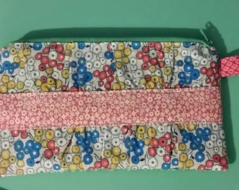 Floral Gathered Front Clutch with Interior Card Holders and Divider