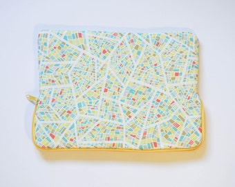 Road Map - Cotton Print - MacBook Pro Sleeve - Laptop Sleeve - Laptop Case - Laptop Bag