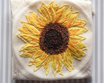Hand Embroidered Sunflower