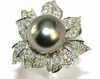 Ring white gold 18K with Tahitian Pearl