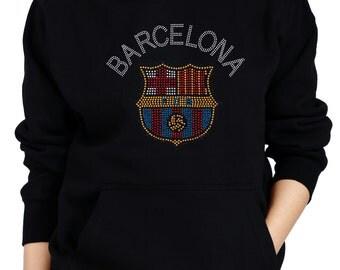 BARCELONA F C Rhinestone/ Stud Hoodie Sweatshirts