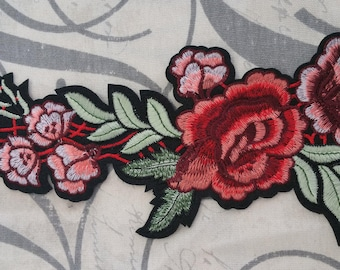 Beautiful embroidered red flower iron patch