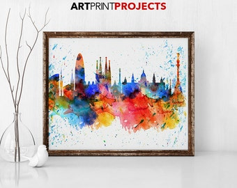 Barcelona Watercolor Print, City Skyline, Barcelona Watercolor, City Watercolor, City Silhouette, Wall Hanging, Home Decor, ArtPrintProjects