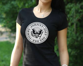 Women's T-shirt The Ramones T shirt Ramones Tee Johnny Ramone Army shirt Gift Rock Tshirt rock Ramones Logo female punk t shirt punk rock