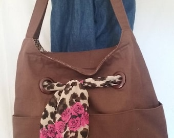 Brown Purse with scarves