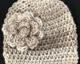Shades of brown  baby/infant/preemie hat/beanie. Coordinating flower on the side.