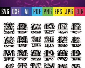 Split monogram Svg font Regal alphabet letters Cutting files for Silhouette, Cricut in SVG, DXF, PDF, Ai, Eps, Jpg, Png, Cdr format