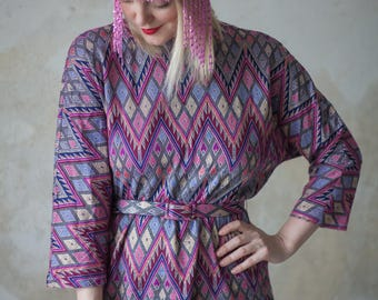 Vintage 70s Shift Dress with Missoni Inspired Print