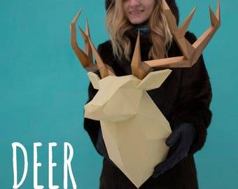 Deer paper head / Low Polygon Wall Decoration / Papercraft deer / 3D animal wall decor / Printable PDF pattern / Paper Sculptures DIY