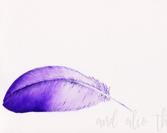 Plume print - watercolour - A4/A5 print - original feather painting