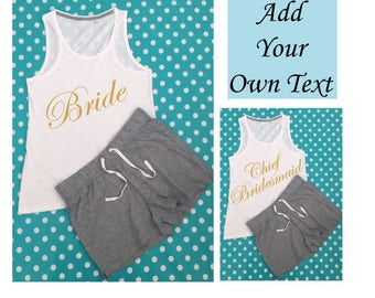 Bridal Party Printed Short PJ's - Bride / Bridesmaid / Mother of the Bride / Chief Bridesmaid / Add Your Own Text