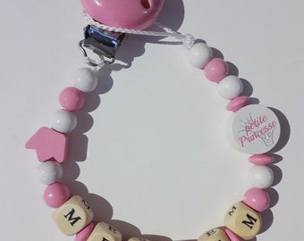 Pacifier clip / personalized lollipop - Princess rosewood white sale 10% discount with coupon code SOLDE2017