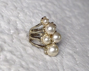 Gold & Pearls Statement Ring! Costume Jewelry!