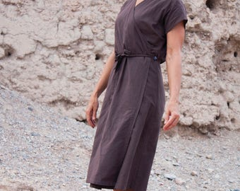 Nomadic Linen Wrap Dress