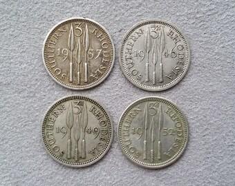 Southern Rhodesia Coins ~ 3 Pence ~ 1937, 1946, 1949 & 1952 ~ King George VI ~ rhd03
