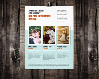 One Page Brochure Design, Brochure Template, Marketing Brochure, Photographer Marketing Kit, 3 Package Showcase, Printable Brochure, handout