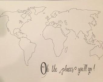 Dr. Seuss World Map Custom Colors